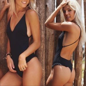 Other - Black Ruffled Swimsuit